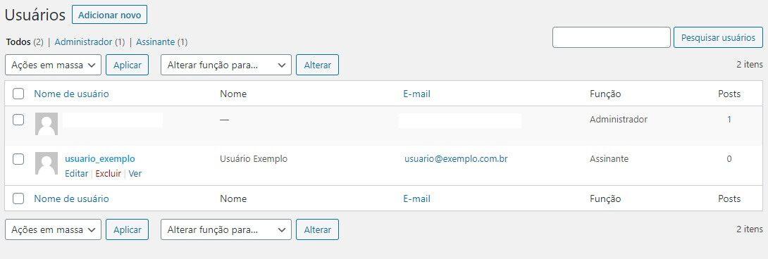Configurando usuários através do painel de Administrador do WordPress