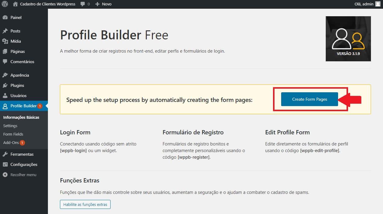 Instalando as Páginas do Profile Builder