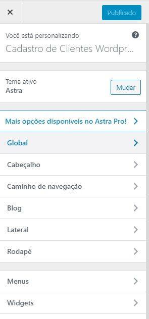 Configurações de Aparência do Site de Cadastro de Clientes WordPress