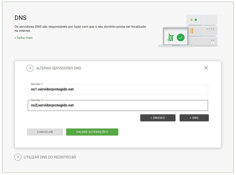 configurar dns no registro.br