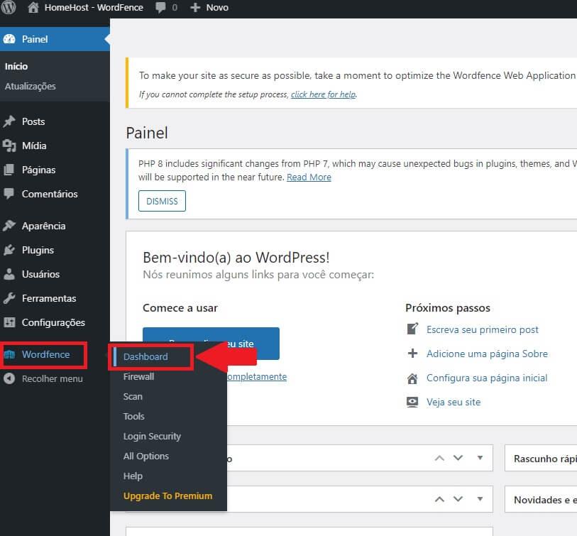 Dashboard do Plugin WordFence Security