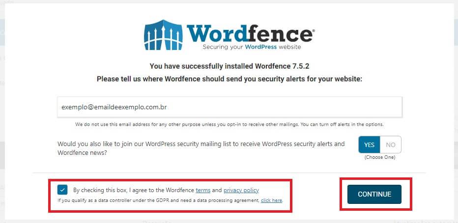 Tela de Confirmação de Email e de termos e politica de privacidade do Wordfence