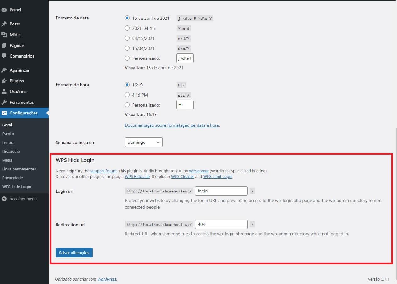 Configurações do WPS Hide Login nas configurações do WordPress