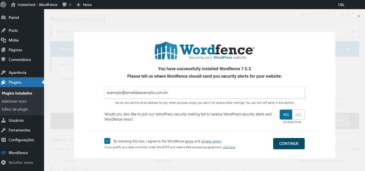 Primeira tela do plugin wordpress wordfence security