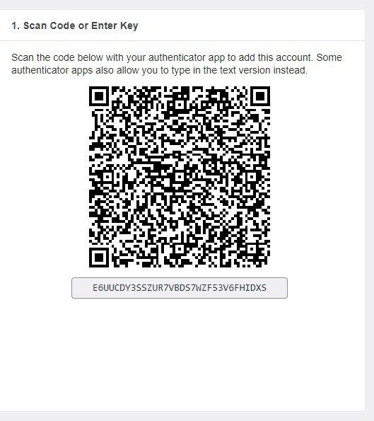 QR Code para habilitar a autenticação de dois fatores