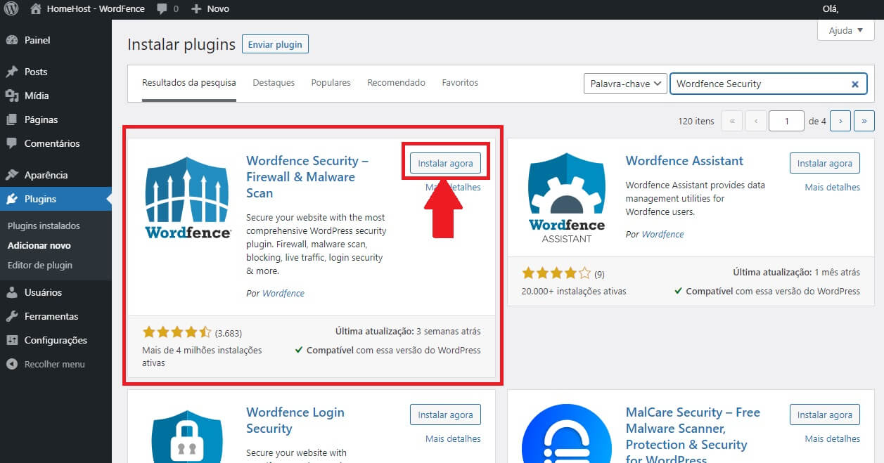 instalar o plugin wordpress wordfence security