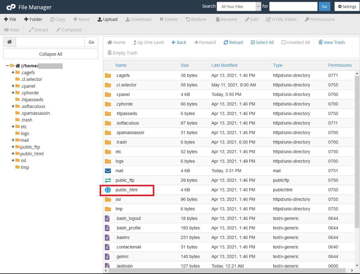 Acesse o diretório public_html pelo gerenciador de arquivos do cpanel para realizar o backup