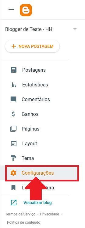 Acessando as Configurações do Blogger