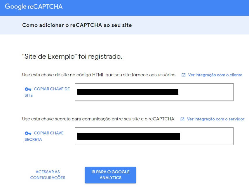 Chaves do google reCaptcha