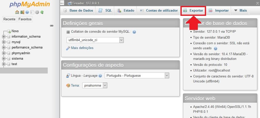 Clique em Exportar no PHPMyADMIN