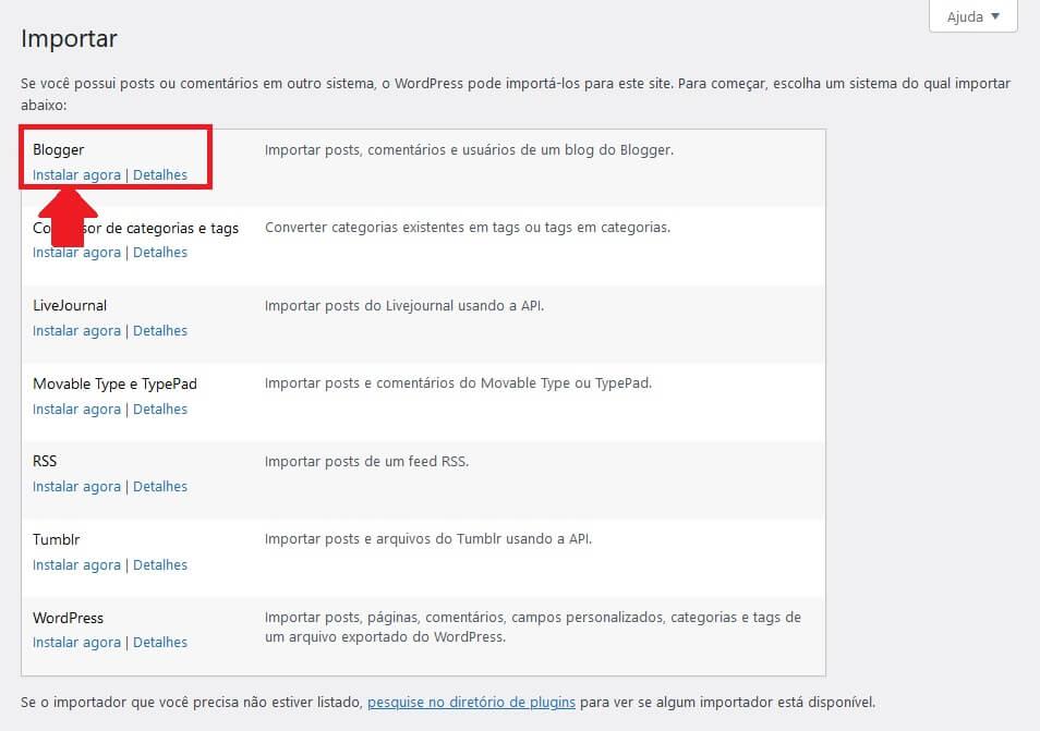 Instalar a Ferrmenta de Importação do Blogger no WordPress