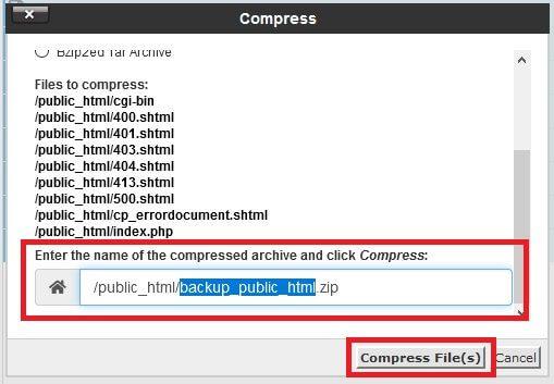 Gerando o arquivo de Backup no cPanel pelo Gerenciador de Arquivos