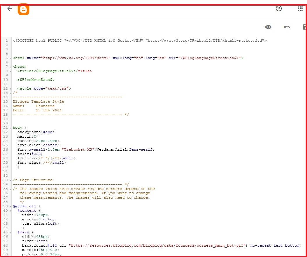 HTML do tema do Blogger