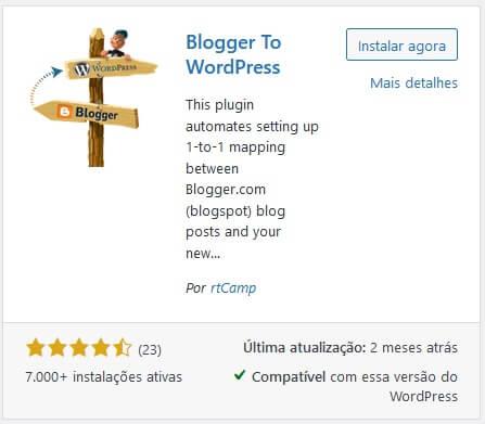 Plugin Blogger para WordPress