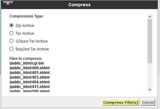 Comprimindo arquivos para gerar o backup no Gerenciador de Arquivos do cPanel