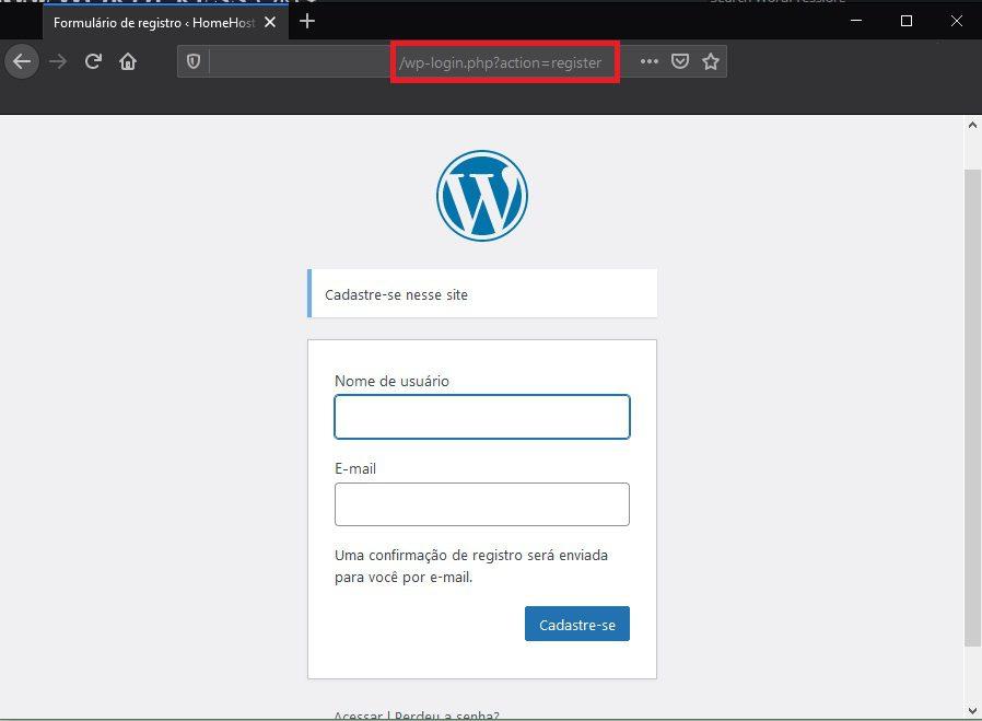 Tela de Cadastro do WordPress - Como Bloquear Spam de Registro no WordPress