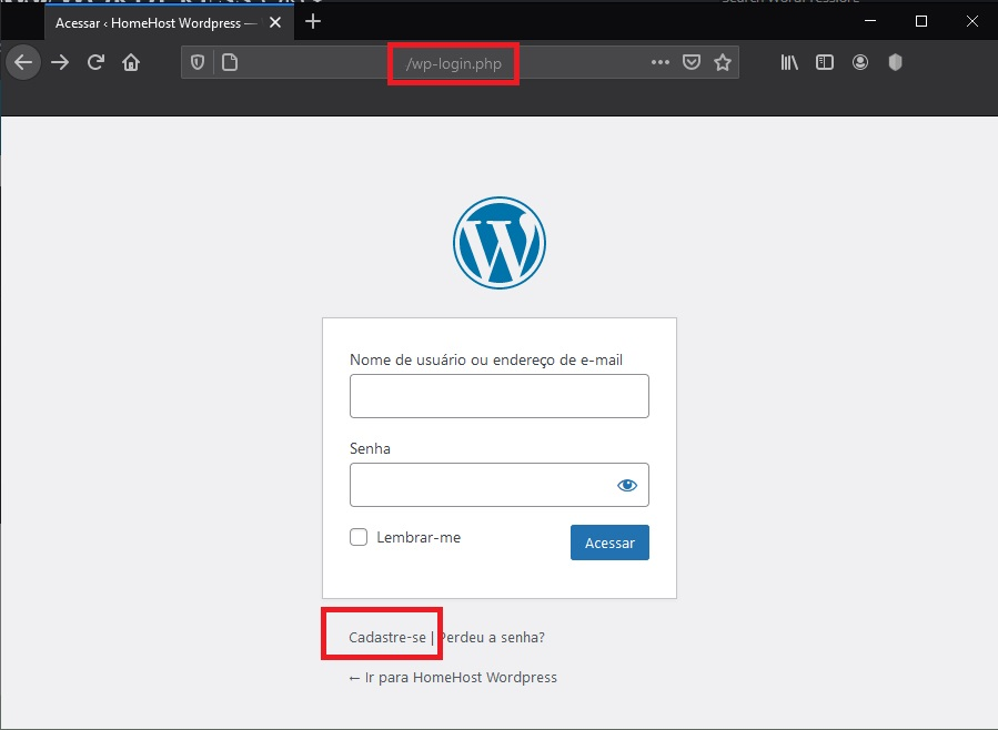 Tela de Login do WordPress - Como Bloquear Spam de Registro no WordPress