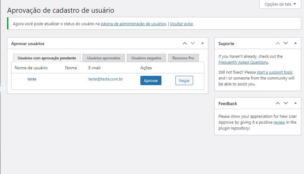 Como Bloquear Comentários e Cadastros no WordPress: Tela de moderação de usuários