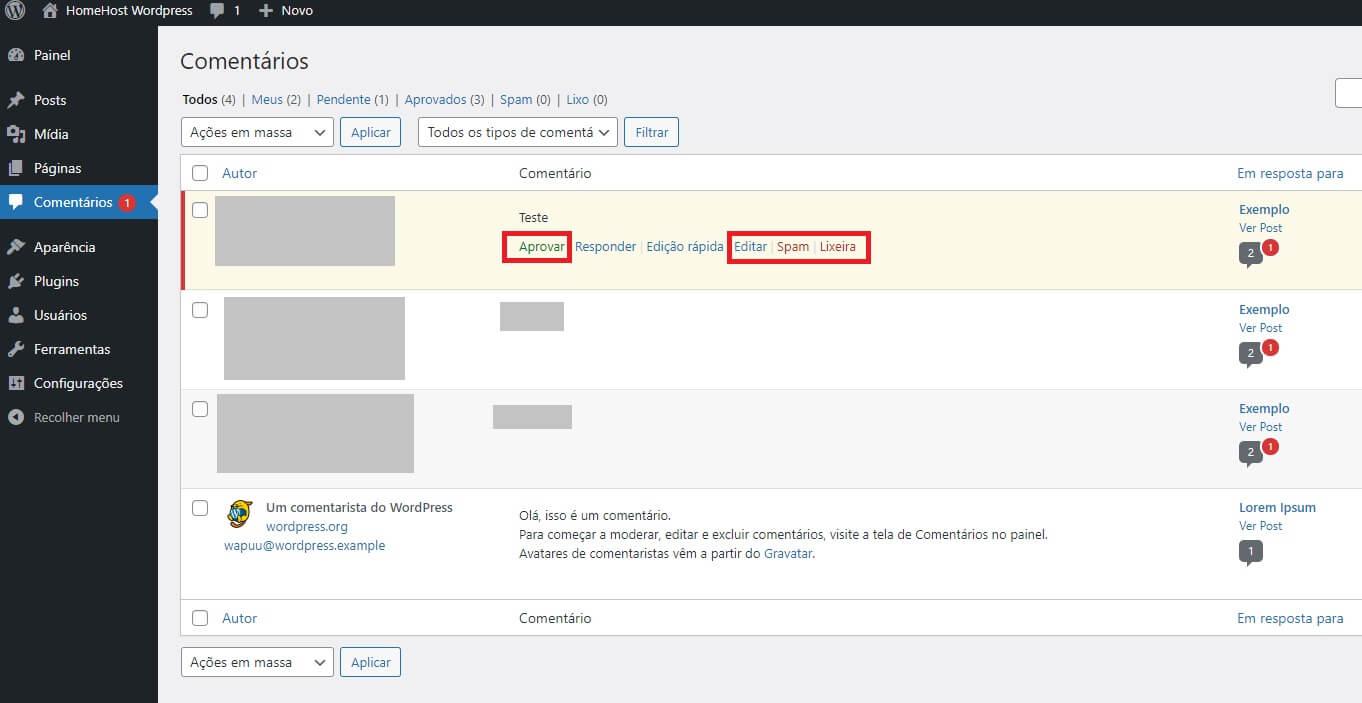 Moderação de comentários no WordPress