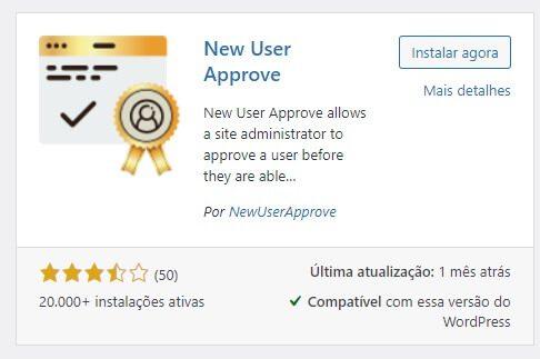 Plugin WordPress: New User Approve