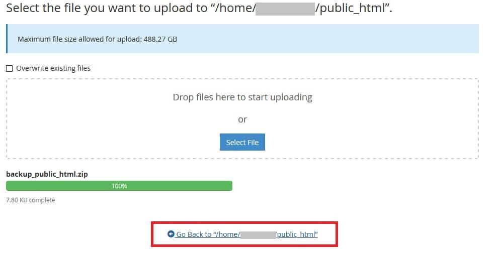 Fazendo upload noGerenciador de Arquivos do Backup no cPanel