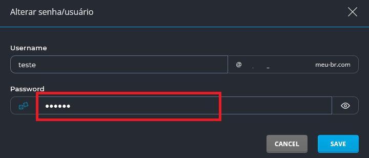 Tela para Alterar senha de e-mail no DirectAdmin