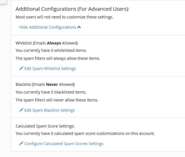 Configurações Adicionais do Filtro de Spam do cpanel