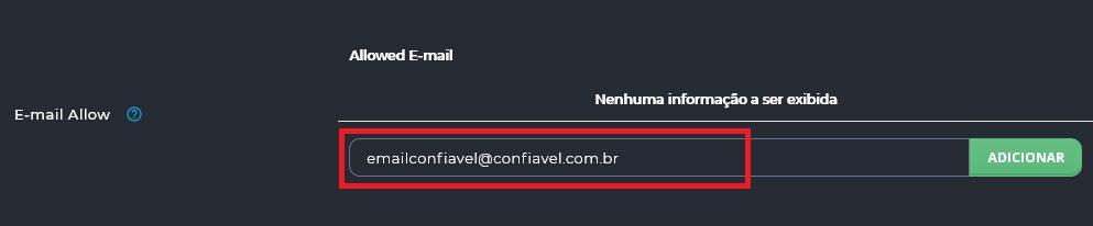 E-mail Allow do Filtro de Spam do DirectAdmin