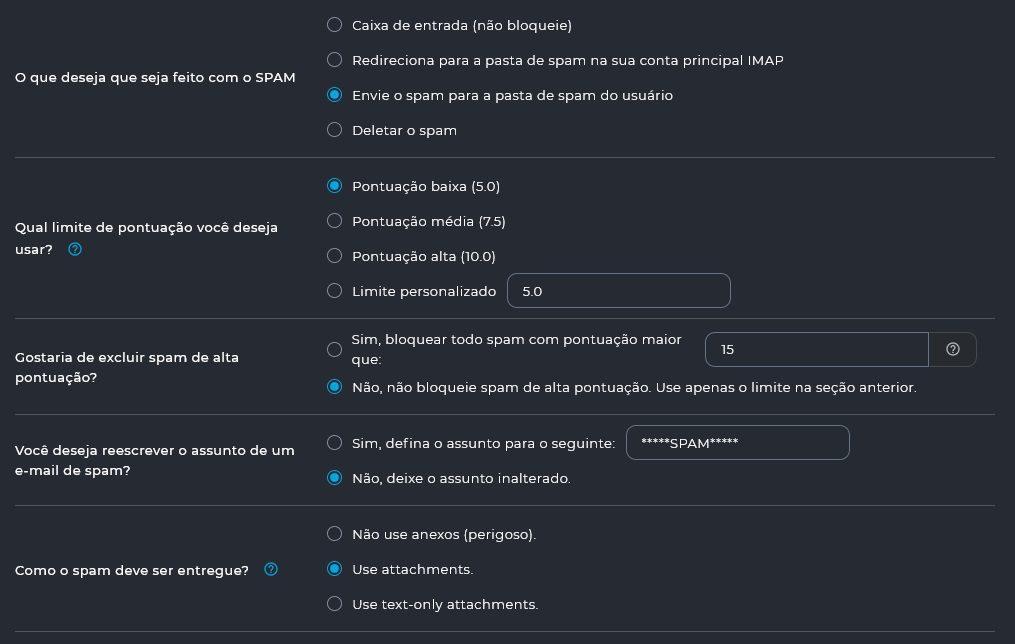 Finalizando e Salvando as configurações do Filtro de Spam do DirectAdmin